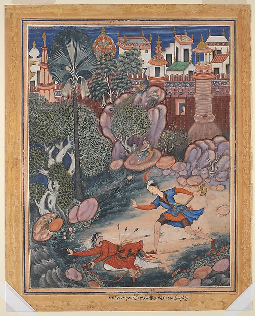 """'Umar Walks around Fulad Castle, Meets a Foot Soldier and Kicks Him to the Ground"", Folio from a Hamzanama (The Adventures of Hamza)"