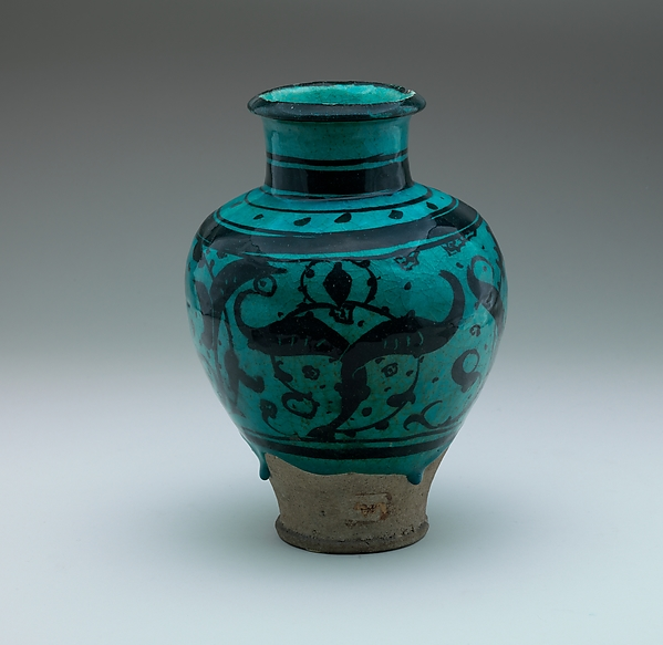 Pear-Shaped Jar with Stylized Vegetal Decoration