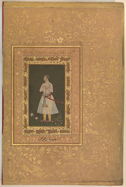 """Portrait of Jahangir Beg, Jansipar Khan"", Folio from the Shah Jahan Album"