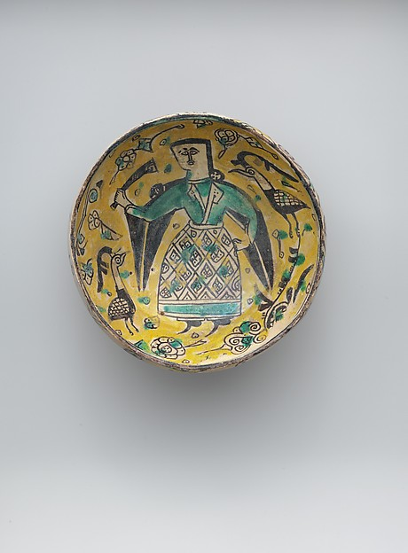 Two Bowls with Figures and a Footed Plate with Birds