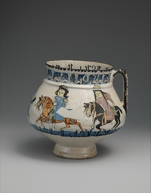 Ewer with horsemen inscribed in Arabic with good wishes to its owner