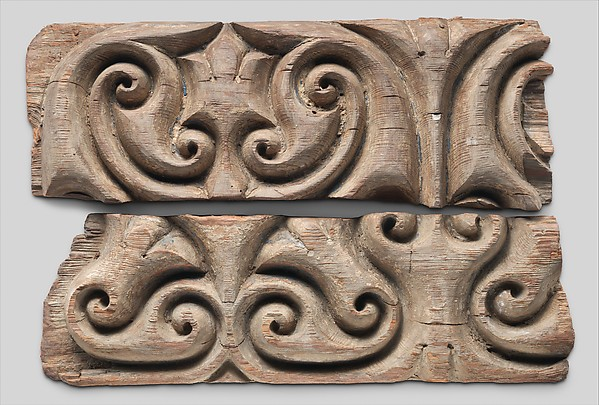 """Panel Carved in the """"Beveled Style"""" with Remains of Later Polychromy"""
