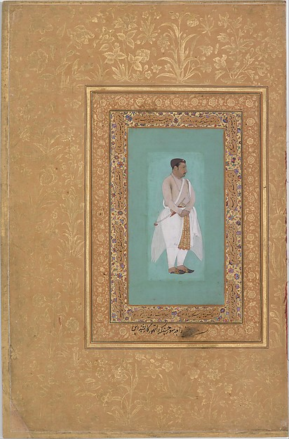 "recto: ""Portrait of Raja Suraj Singh Rathor"", verso: Page of Calligraphy. Folio from the Shah Jahan Album"