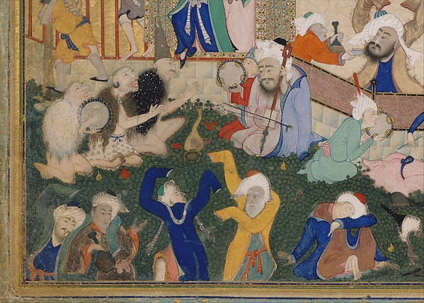 """Allegory of Worldly and Otherworldly Drunkenness"", Folio from the Divan of Hafiz"