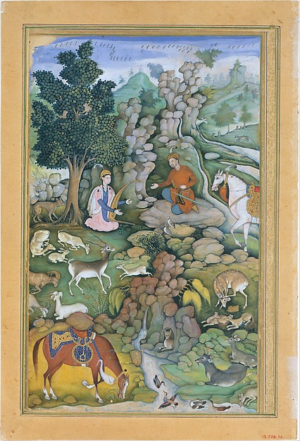 """Bahram Gur Sees a Herd of Deer Mesmerized by Dilaram' s Music"", Folio from a Khamsa (Quintet) of Amir Khusrau Dihlavi"