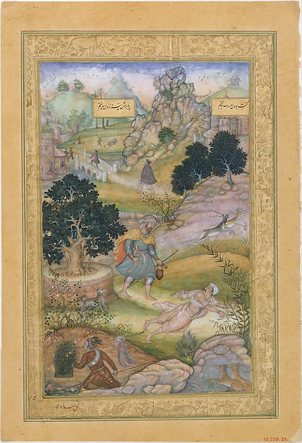 """A Muslim Pilgrim Learns a Lesson in Piety from a Brahman"", Folio from a Khamsa (Quintet) of Amir Khusrau Dihlavi"