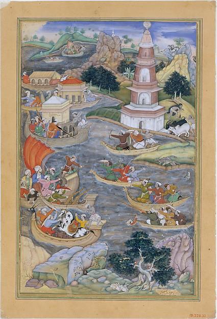 """Alexander Fights a Sea Battle"", Folio from a Khamsa (Quintet) of Amir Khusrau Dihlavi"