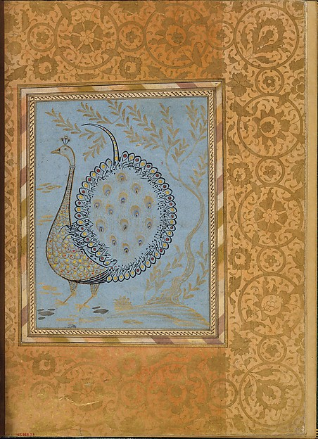 """Calligraphic Composition in Shape of Peacock"", Folio from the Bellini Album"