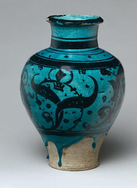 Pear-Shaped Jar with Stylized Vegetal Decoration