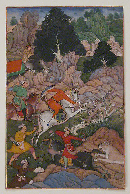 """Akbar Hunting"", Folio from an Akbarnama (History of Akbar)"