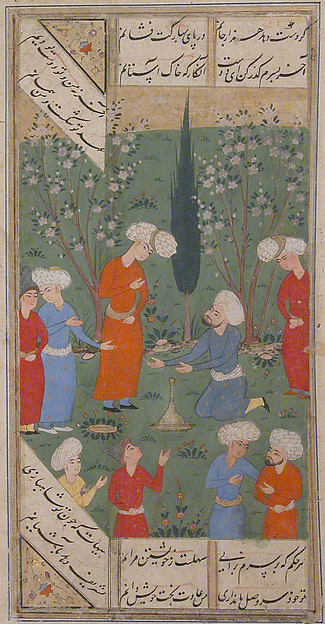 """A Scene of Lovers and their Friends in a Garden"", Folio from a Kulliyat (Complete Works) of Sa'di"