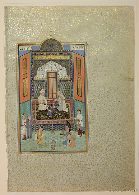 """Bahram Gur in the White Palace on Friday"", Folio 235 from a Khamsa (Quintet) of Nizami"