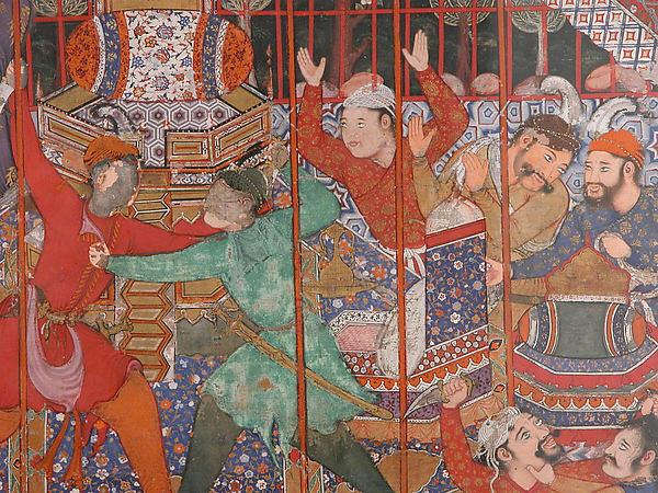 """Hamza's Heroes Fight in Support of Qasim and Badi'uzzaman"", Folio from a Hamzanama (The Adventures of Hamza)"