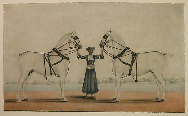 A Syce Holding Two Carriage Horses