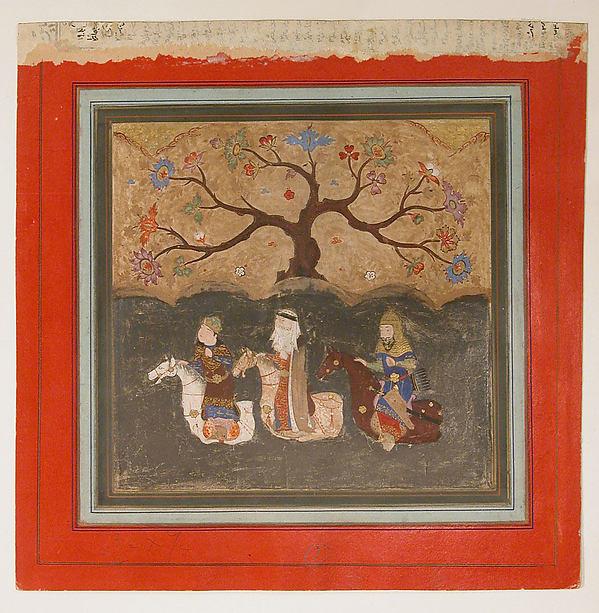 """Kai Khusrau, Farangis and Giv Crossing the River Jihun (Oxus)"", Folio from a Shahnama (Book of Kings)"