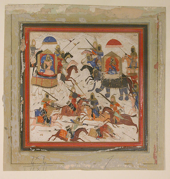 """""""Gav and Talhand in Battle"""", Folio from a Shahnama (Book of Kings)"""