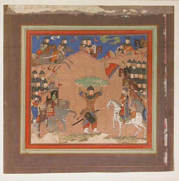 """Rustam Carrying the King of Mazandaran to Kai Kavus"", Folio from a Shahnama (Book of Kings)"
