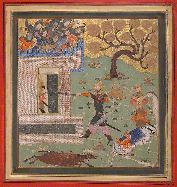 """Bizhan Forces Farud to Retreat into his Fort"", Folio from a Shahnama (Book of Kings)"