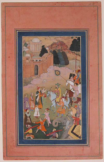 """The Emperor Humayun Returning from a Journey Greets his Son"", Folio from the Davis Album"