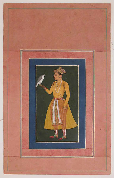"""Portrait of a Prince in Yellow Costume with a Falcon"", Folio from the Davis Album"