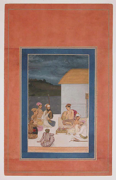 """Prince Sultan Parviz, Son of Jahangir, with his Courtiers and Musicians"", Folio from the Davis Album"