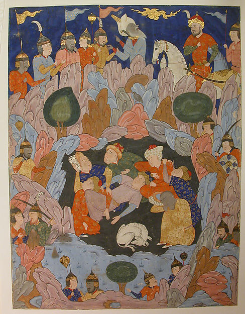 """""""The Seven Sleepers of Ephesus Discovered by Alexander the Great"""", Folio from a Falnama (Book of Omens)"""
