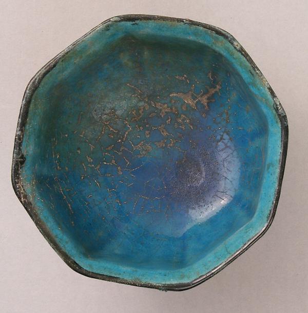 Stonepaste Bowl with Blue and Black Underglaze Painting