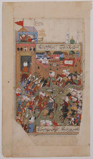 """""""Ottoman Army Entering a City"""", Folio from a Divan of Mahmud `Abd al-Baqi"""