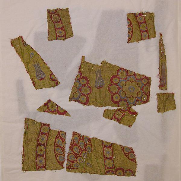 Silk Fragment with Wavy-vine Pattern on Green Ground