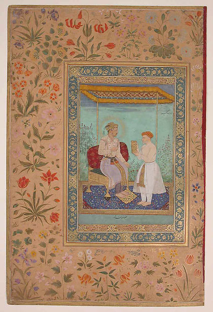 """Jahangir and His Vizier, I'timad al-Daula"", Folio from the Shah Jahan Album"