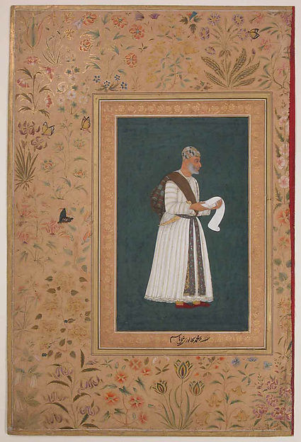 """Portrait of Mulla Muhammad Khan Vali of Bijapur"", Folio from the Shah Jahan Album"