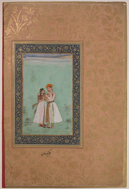 """Shah Shuja with a Beloved"", Folio from the Shah Jahan Album"