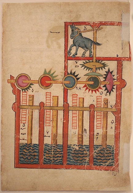"""Design on Each Side for Waterwheel Worked by Donkey Power"", Folio from a Book of the Knowledge of Ingenious Mechanical Devices by al-Jazari"