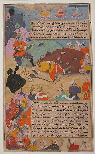 """Bhima Defeates Duryodhana"", Folio from a Razmnama"