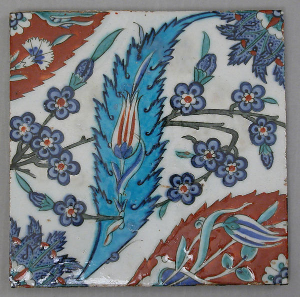 Tile with Saz Leave, Tulips, and Hyacinth Flowers