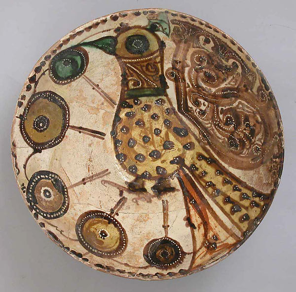 Bowl, Earthenware with White slip and Polychrome Decoration.