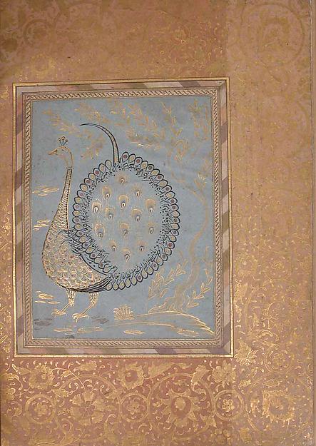 """Calligraphic Composition in Shape of Peacock"", Folio from the Bellini Album"