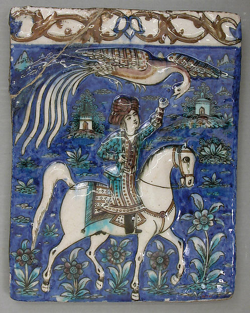 Tile with an Image of a Prince on Horseback