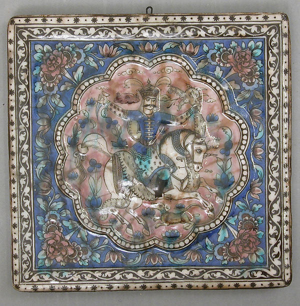 Square Tile Depicting a Horseman Killing a Dragon