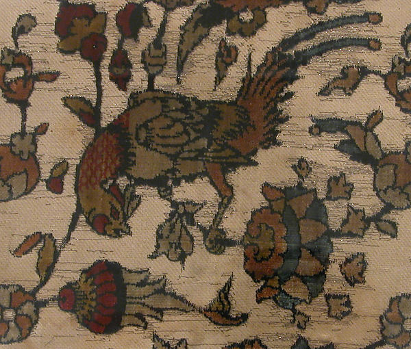 Velvet Fragment with Bird and Flower Design