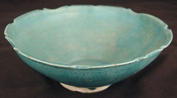 Turquoise Bowl with Carved Rim