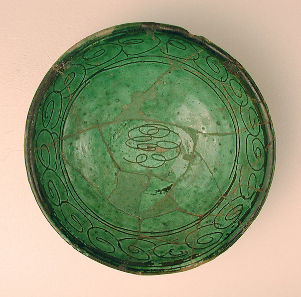 Green Glazed Bowl with Incised Decoration