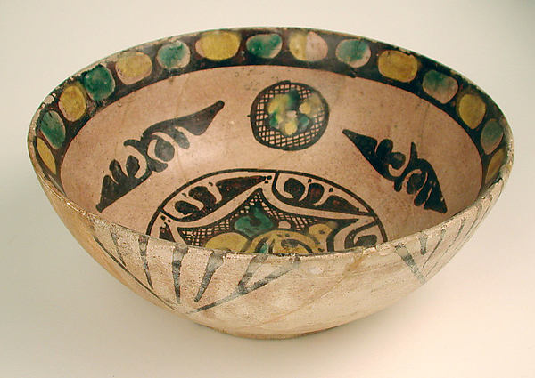 Two Buffware Bowls with Geometric Designs