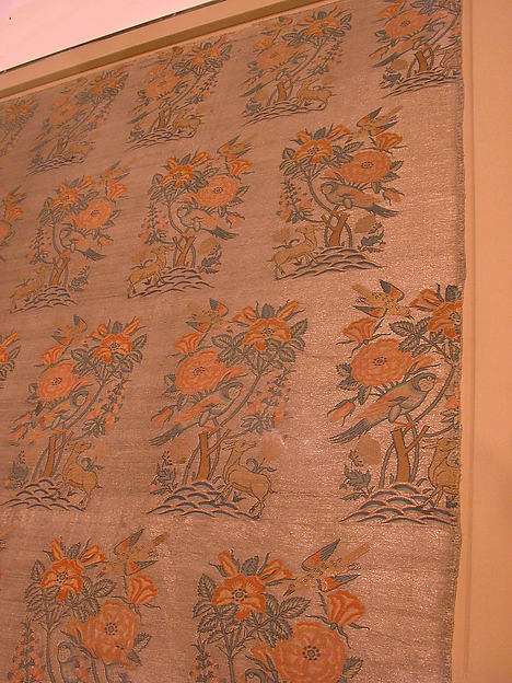 Silk Fragment with a Rosebush, Bird, and Deer Pattern