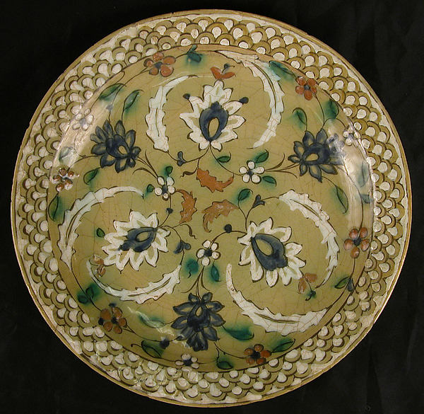 Dish with Floral Designs on an Olive Background