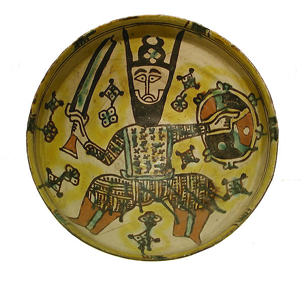 Bowl with a Man Holding a Sword and Shield