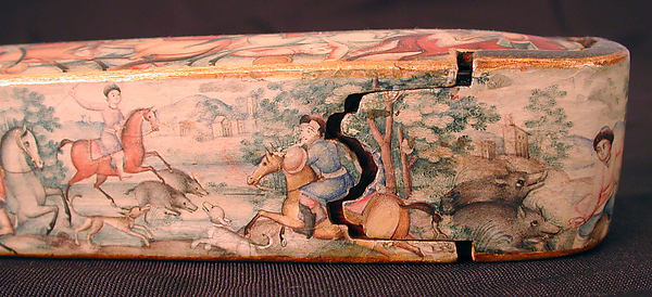 Pen Box (Qalamdan) Depicting Shah Isma'il in a Battle against the Uzbeks