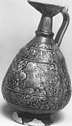 Ewer with molded inscriptions and figures on horseback