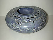 Pierced Blue Pot with Animals and Vegetal Scroll