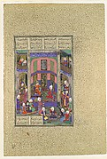 """Manuchihr Welcomes Sam but Orders War upon Mihrab"", Folio 80v from the Shahnama (Book of Kings) of Shah Tahmasp"